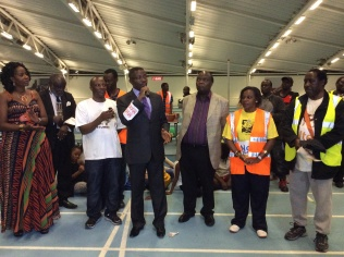Addressing Baganda at the clan games in North London.