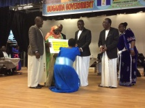 Commonwealth Short Story Winner Jennifer Makumbi greets the Katikkiro.