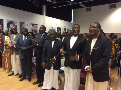 Katikkiro Mayiga at Harris Academy in London where he addressed Baganda in the UK.