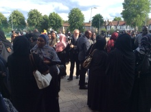 Ugandans at Sarah Amin's prayers at Masjid Mosque in North London.