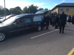 Sarah Amin's cortege before leaving for burial in Uganda.