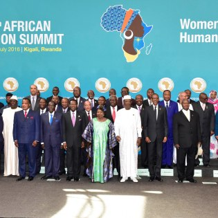 President Museveni (5th L) in a group photo with other African Presidents at the opening of the 27th AU Summit in Kigali Rwanda yesterday July 17 PPU Photo