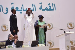 African Union Passport. President Idriss Deby (Chad) displays a copy of his AU passport at the 27th AU Summit . Courtesy Photo.